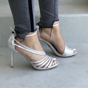 Gala Embellished Strappy Silver Platform Heels